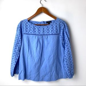 J Crew linen-cotton eyelet top in blue